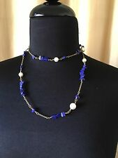 J Crew Lapis And Pearl Long Strand Necklace