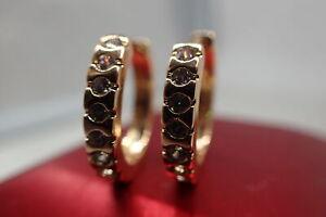 Ladies 18K Yellow Gold GF 8 stone  Created diamond 20mm Hoop Huggies Earrings