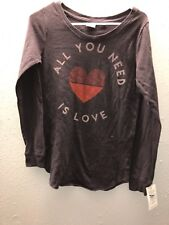 """NWT! Junk Food """"All you Need is Love"""" Long Sleeve Tee Top Shirt- Size XS"""