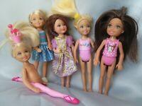 Lot of 5 Barbie Sister Chelsea Dolls Vintage & Modern Rapunzel (?) Ballerina