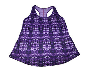 Old Navy Active Semi Fitted Racerback Tank Top, Purple Triangles, Stretch Sz M