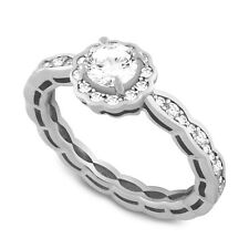 Cubic Zirconia Halo Engagement Ring 925 Sterling Silver Wavy Eternity Round