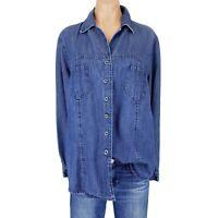 Womens XL Top Denim Shirt Tunic Blouse Roamans 16W Plus Size Button Boho Summer