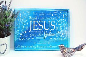 Christian Canvas Wall Art Print Joshua 24:15 Bible Verse Scripture Home Faith UK