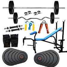 Fitfly Home Gym  Set 7 in 1 Bench With 50kg Weight +3ft Curl Rod 5ft Plain Rod.