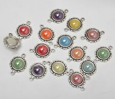 10pcs mixed color Tibetan Silver charm Connectors Ceramic Scrapbook  23x15mm