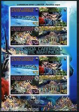 GRENADA GRENADINES WORLD WILDLIFE FUND LOBSTER SCOTT#2727 SHEET OF 8 RARE IMPERF