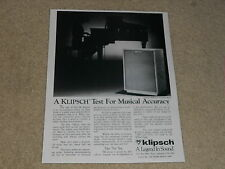 Klipsch Heresy II Speaker Ad, 1984, 1 page, Article, Rare Info!