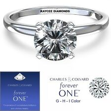 NEW! 2.00 Carat Moissanite Forever One Solitaire Ring (Charles & Colvard)