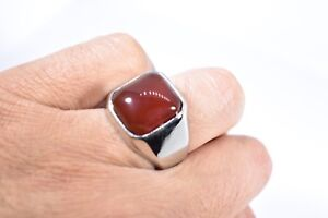 Vintage Stainless Steel Genuine Carnelian Size 8 Men's Ring