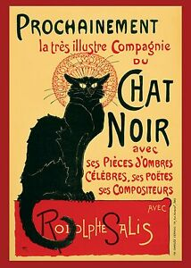A2 SIZE  Chat Noir Canvas Art Print painting old Vintage Cat Poster RED