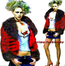 Dolce & Gabbana D&G Red Fox Fur Lamb Fur Decorated Floral Print Sleeves Jacket