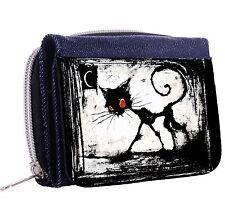 A Gothic Cat Red Eyes Denim Tri-Fold Half Wallet w/ ID Window Button