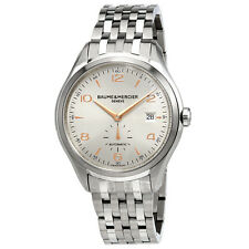 Baume and Mercier Clifton Silver Dial Stainless Steel Mens Watch 10141