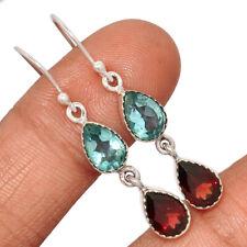Blue Topaz & Garnet 925 Sterling Silver Earring Jewelry AE140176