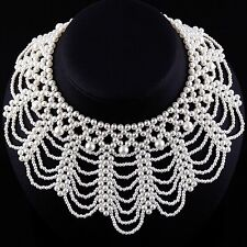 Pearl Necklace Collar Necklace Pearl Collier perlenkragen Bead Chain P53