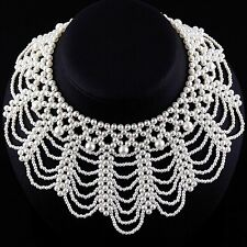 Perlen Collier Kragen Kette Halskette Perlencollier Perlenkragen Perlenkette P53