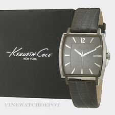 Authentic Kenneth Cole Men's Grey Gunmetal Dial Black Leather Strap Watch KC1685