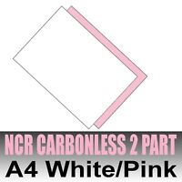 25 sets x A4 Carbonless NCR Duplicate Print Paper White & Pink - Inkjet & Laser