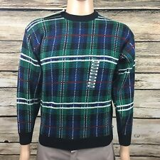 Badge Designer Acrylic Ugly Christmas Sweater Plaid Men's Large NEW NWT -A217
