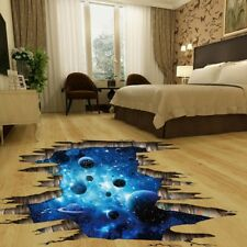 3D Space Galaxy Star Planets Universe Removable Wall Floor Sticker Room Decor US