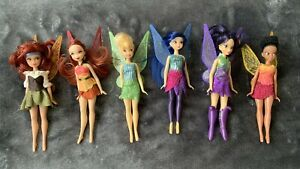 """Disney Store Tinkerbell And Friends Flutter Wings Fairies Mini 6"""" Dolls RARE HTF"""