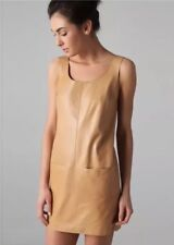 Vince NWT Tank Shift  Lamb Leather Dress Beige Tan 4 Small $775