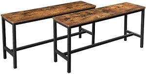 2PC Set Dining Kitchen Table Benches Vintage Rustic Furniture Wooden Metal Seat