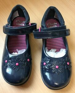 Clarks 'Lights' Girls Light Up Shoes Navy Size 8 1/2 F-  Good Condition