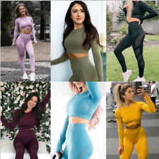 Womens Seamless Yoga Set Fitness Sports Suits Long sleeve Crop Top Workout Pants