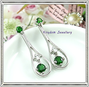 925 Sterling Silver Chrome Diopside and White Topaz Gemstone Earrings