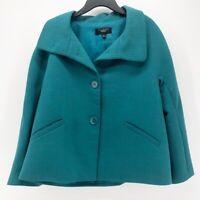 Talbots Womens Suit Jacket Blue Long Sleeve Buttons Wool Blend Blazer Petites 8P