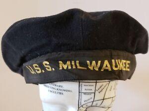 Authentic Original WWII 'USS MILWAUKEE' U.S. Navy Sailor Wool Flat Cap Hat RARE