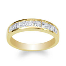 JamesJenny Ladies 10K Yellow Gold Square CZ Wedding Channel Band Ring Size 4-10