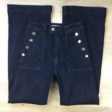 H&M High Rise Flare Gold Button Pockets Women's Jeans Size 6US W25 L29.5 (KK17)