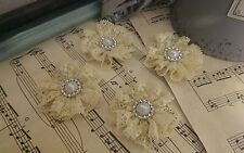 Handmade vintage shabby chic Lace fabric flowers wedding crafts