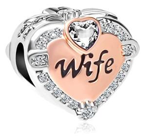 Rose Gold Wife Heart Love Charm Pandora Bracelet Charms Bracelets New Year Gift