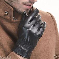2017 New Men's Women's (100% Real Leather) Winter Warm Black Gloves