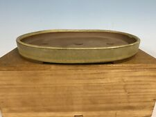 "Large Shohin Size Yellow Tokoname Bonsai Tree Pot By Yozan 9 1/4""  Great Patina"