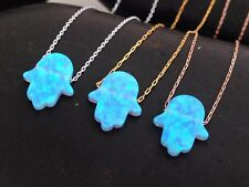 Light Blue Opal Hamsa Pendant 925 Sterling Silver Necklace Gold Plated Hand