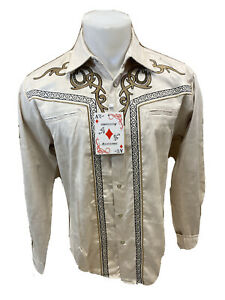 Men RODEO WESTERN COUNTRY CREAM BEIGE STITCH TRIBAL SNAP UP Shirt Cowboy 04485