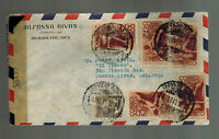 1945 Merida Yucatan Mexico to Buenos Aires Argentina Censored Airmail cover