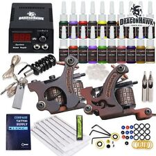 Beginner Tattoo Kit Top Machine Guns 20 color ink Tip Power Supply Needle HW-9
