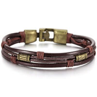 Alloy Leather Bracelet Handcuff Braided Cord Rope Brown Male, Female O3I2