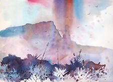 """""""POINTING NORTH""""  original watercolor by American artist Micheal Jones"""