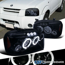 For 01-04 Nissan Frontier Replacement Glossy Black Halo LED Projector Headlights
