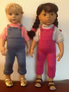 """Dolls  clothes knitting  pattern. 18"""" doll. Dungarees and jumper. KNM81"""