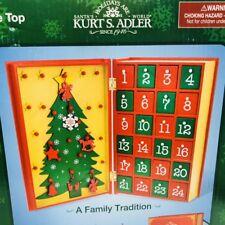 Christmas Advent Calendar Kurt Adler Table Top Santa's World Wooden Book