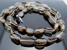 "Natural Genuine Smoky Quartz Smooth Oval 6-8mm Gemstone Beads 14"" Bargain"