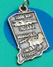 S97 Indiana State Map Sterling Silver Vintage Bracelet Charm